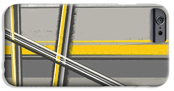 Yellow And Grey Abstract Art iPhone Cases - Yellow And Gray Abstract Art iPhone Case by Lourry Legarde