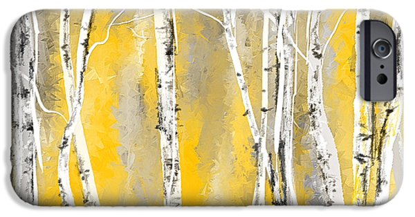 Yellow And Grey Abstract Art iPhone Cases - Yellow and Gray Birch Trees iPhone Case by Lourry Legarde