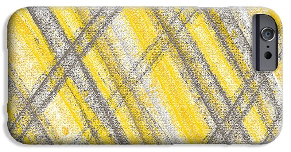 Yellow And Grey Abstract Art iPhone Cases - Yellow And Gray Lines iPhone Case by Lourry Legarde