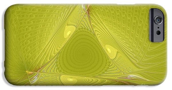 Fractal Mixed Media iPhone Cases - Yellow Anyone iPhone Case by Deborah Benoit