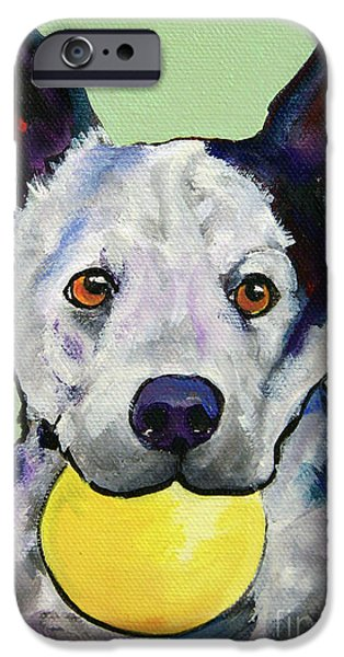 Cattle Dog iPhone Cases - Yellow Ball iPhone Case by Pat Saunders-White