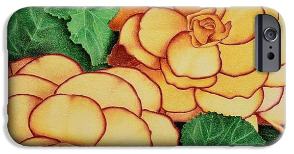 Flora Drawings iPhone Cases - Yellow Begonias iPhone Case by Sharon Patterson