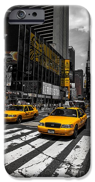 Colorkey iPhone Cases - Yellow Cabs cruisin on the Times Square  iPhone Case by Hannes Cmarits