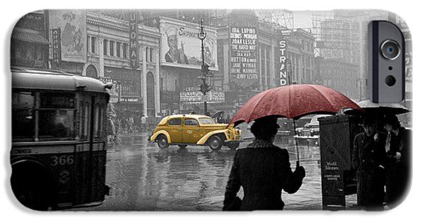 Umbrella iPhone Cases - Yellow Cabs New York 2 iPhone Case by Andrew Fare