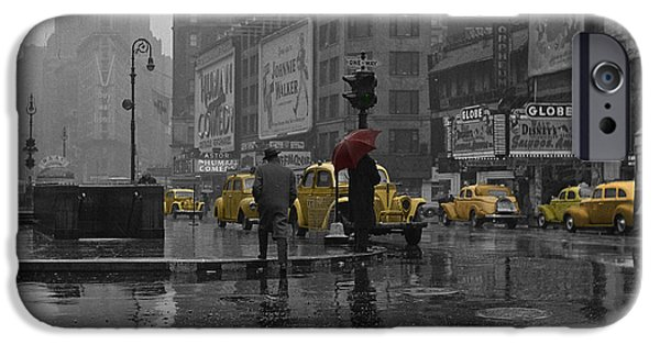 Times Square iPhone Cases - Yellow Cabs New York iPhone Case by Andrew Fare