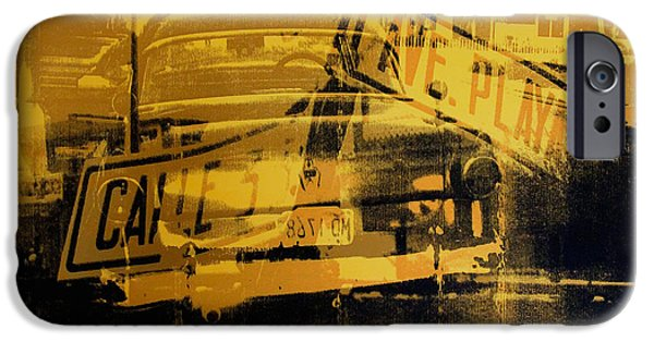 Havana iPhone Cases - Yellow Car and Street Sign iPhone Case by David Studwell