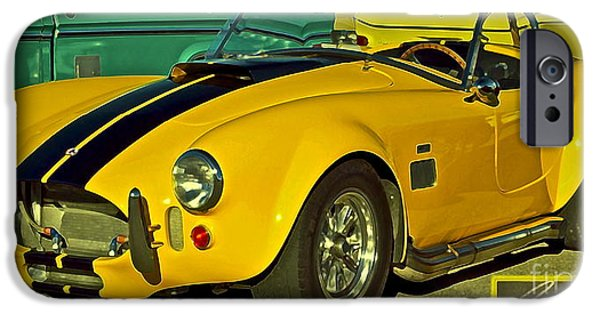 Carroll Shelby iPhone Cases - Yellow Cobra iPhone Case by Gwyn Newcombe