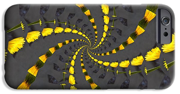 Recently Sold -  - Floral Digital Art Digital Art iPhone Cases - Yellow Daisy Spin Wheel  iPhone Case by Debra Martz