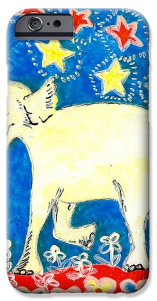 Sue Burgess Ceramics iPhone Cases - Yellow elephant facing left iPhone Case by Sushila Burgess