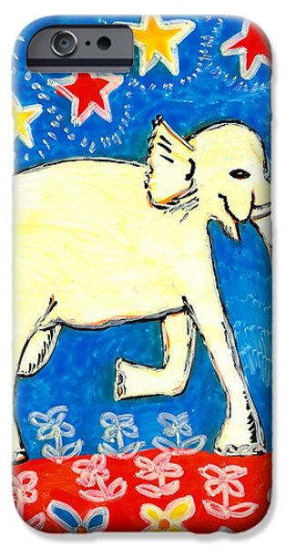 Sue Burgess Ceramics iPhone Cases - Yellow elephant facing right iPhone Case by Sushila Burgess