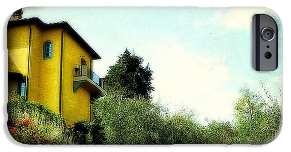 Balcony iPhone Cases - Yellow House In Tuscany iPhone Case by Toni Abdnour