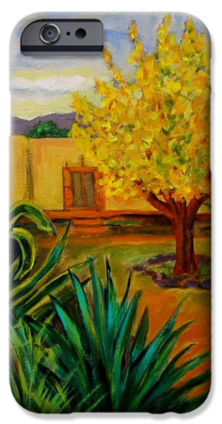 Garden Ceramics iPhone Cases - Yellow house yellow tree iPhone Case by Carol Keiser