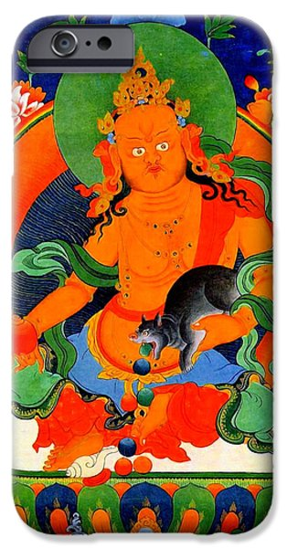 Tibetan Buddhism iPhone Cases - Yellow Jambhala 1 iPhone Case by Lanjee Chee