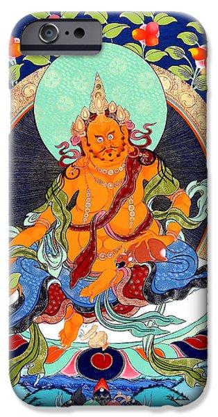 Tibetan Buddhism iPhone Cases - Yellow Jambhala 12 iPhone Case by Lanjee Chee