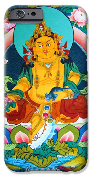 Tibetan Buddhism iPhone Cases - Yellow Jambhala 13 iPhone Case by Lanjee Chee