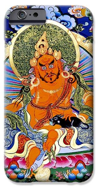 Tibetan Buddhism iPhone Cases - Yellow Jambhala 14 iPhone Case by Lanjee Chee