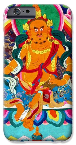Tibetan Buddhism iPhone Cases - Yellow Jambhala 15 iPhone Case by Lanjee Chee