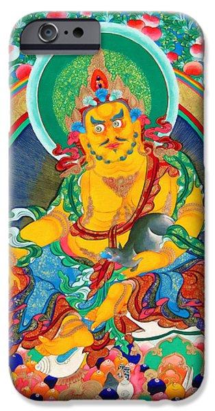 Tibetan Buddhism iPhone Cases - Yellow Jambhala 16 iPhone Case by Lanjee Chee
