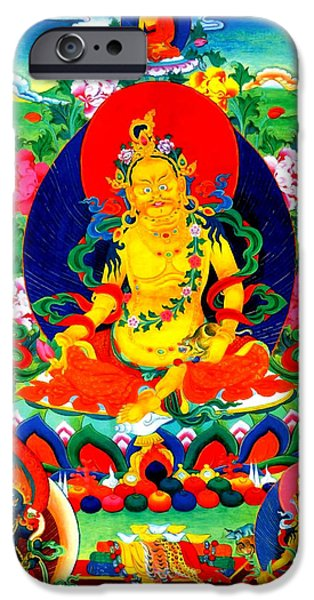 Tibetan Buddhism iPhone Cases - Yellow Jambhala 17 iPhone Case by Lanjee Chee