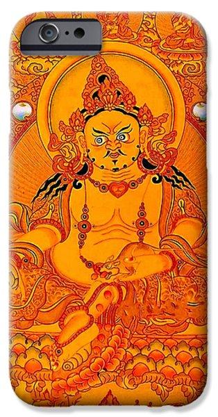 Tibetan Buddhism iPhone Cases - Yellow Jambhala 18 iPhone Case by Lanjee Chee