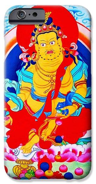 Tibetan Buddhism iPhone Cases - Yellow Jambhala 19  iPhone Case by Lanjee Chee