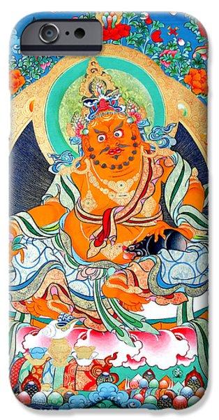 Tibetan Buddhism iPhone Cases - Yellow Jambhala 2 iPhone Case by Lanjee Chee