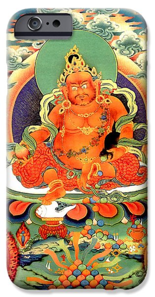 Tibetan Buddhism iPhone Cases - Yellow Jambhala 20 iPhone Case by Lanjee Chee