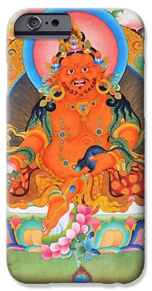 Hindu Goddess iPhone Cases - Yellow Jambhala 21 iPhone Case by Lanjee Chee