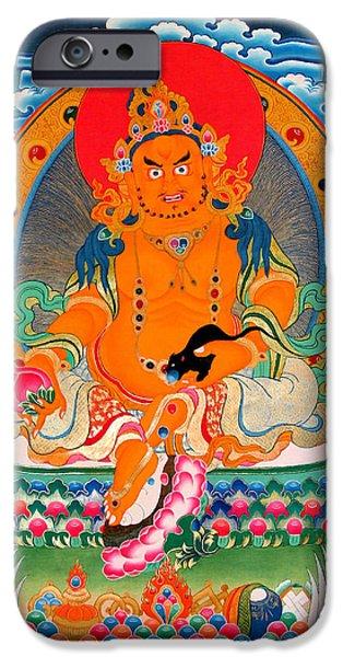 Hindu Goddess iPhone Cases - Yellow Jambhala 25 iPhone Case by Lanjee Chee