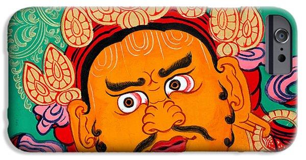 Tibetan Buddhism iPhone Cases - Yellow Jambhala  27 iPhone Case by Lanjee Chee