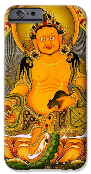 Best Sellers -  - Tibetan Buddhism iPhone Cases - Yellow Jambhala 3 iPhone Case by Lanjee Chee