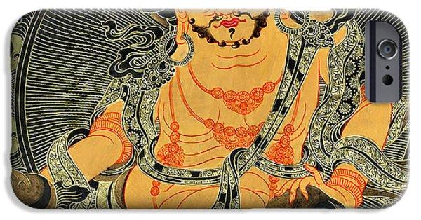 Hindu Goddess iPhone Cases - Yellow Jambhala 30 iPhone Case by Lanjee Chee