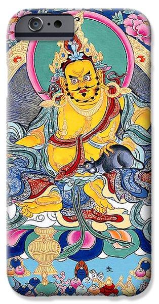 Hindu Goddess iPhone Cases - Yellow Jambhala 31 iPhone Case by Lanjee Chee