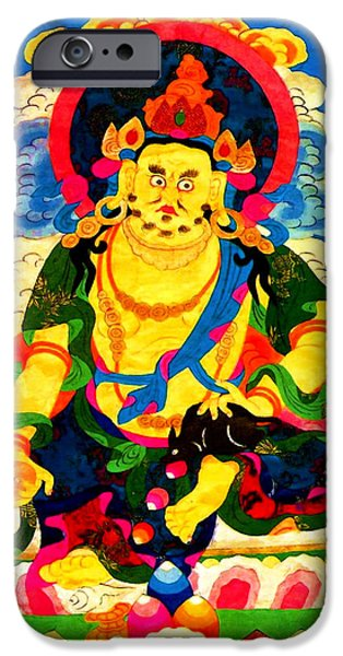 Best Sellers -  - Tibetan Buddhism iPhone Cases - Yellow Jambhala 4 iPhone Case by Lanjee Chee