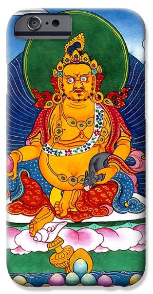 Tibetan Buddhism iPhone Cases - Yellow Jambhala 5 iPhone Case by Lanjee Chee