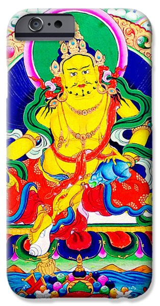 Tibetan Buddhism iPhone Cases - Yellow Jambhala 6 iPhone Case by Lanjee Chee