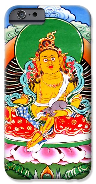 Tibetan Buddhism iPhone Cases - Yellow Jambhala 7 iPhone Case by Lanjee Chee