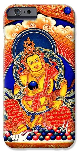 Tibetan Buddhism iPhone Cases - Yellow Jambhala 9 iPhone Case by Lanjee Chee