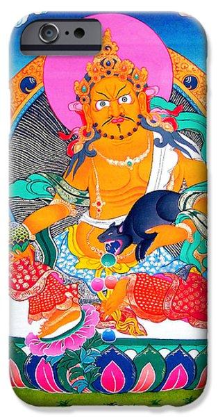 Tibetan Buddhism iPhone Cases - Yellow Jambhala  iPhone Case by Lanjee Chee