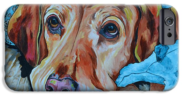 Dog Close-up Paintings iPhone Cases - Yellow Lab iPhone Case by Patti Schermerhorn