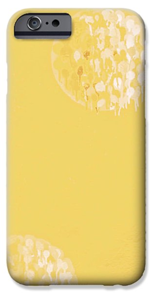 Contemporary Abstract iPhone Cases - Yellow Moons  iPhone Case by Claire  Doherty