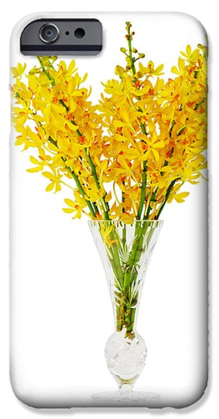 Floral Photographs iPhone Cases - Yellow Orchid In Crystal Vase iPhone Case by Atiketta Sangasaeng
