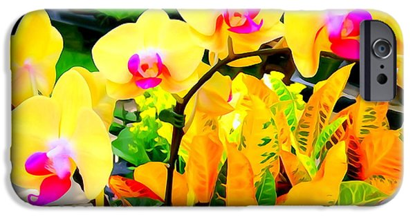 Abstract Digital Photographs iPhone Cases - Yellow Orchids iPhone Case by Ed Weidman