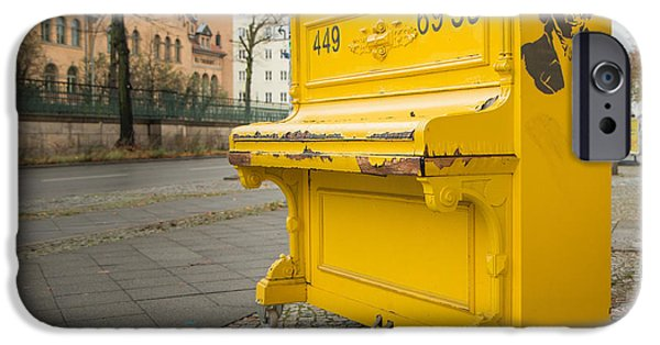 Piano iPhone Cases - Yellow Piano Beethoven as Seen in Berlin iPhone Case by Jivko Nakev