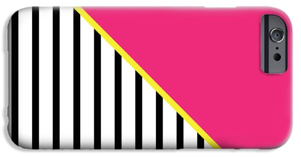 Geometric Shape iPhone Cases - Yellow Pink And Black Geometric 2 iPhone Case by Linda Woods