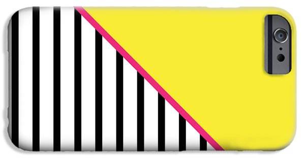 Geometric Shape iPhone Cases - Yellow Pink And Black Geometric iPhone Case by Linda Woods