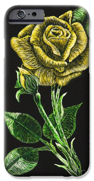 Board iPhone Cases - Yellow Rose of Carolina iPhone Case by Louise Williams