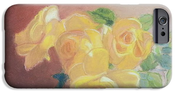 Drama Pastels iPhone Cases - Yellow Roses in Mug iPhone Case by Nancy Beauchamp