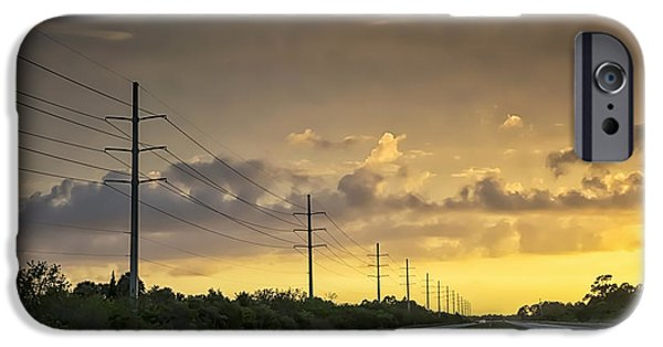 Power iPhone Cases - Yellow Sunset iPhone Case by Louise Hill