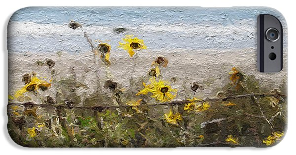 Santa Mixed Media iPhone Cases - Yellow Wildflowers- Art by Linda Woods iPhone Case by Linda Woods